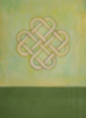 Irish themed contemporary painting of Celtic Love Knot in green