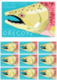 Graphic Design of postage stamp featuring Chinook Salmon, by Kazaan Viveiros