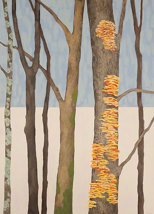 Contemporary painting of trees with mushrooms, moss, and lichen, by Kazaan Viveiros