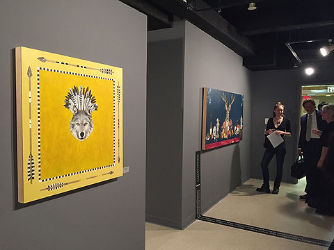 Contemporary wolf and deer head painting in exhibit at Korea Cultural Center