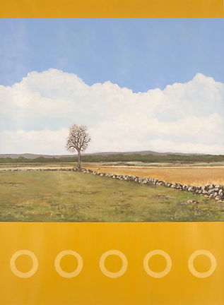 The Angle, battlefield at Gettysburg, PA. Landscape painting.