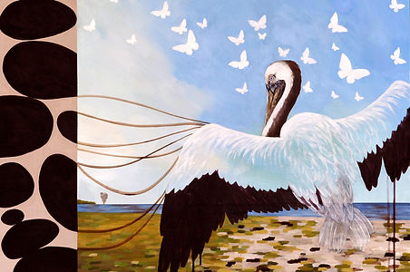 Painting about Deepwater Horizon oil spill | Painting about oil spill | Environmental artwork| Painting of pelican | Painting of phoenix bird
