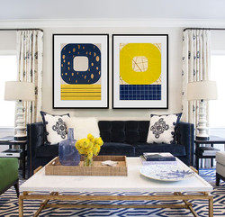 Try navy blue and yellow.