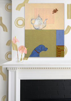 Hang a painting above the mantel.