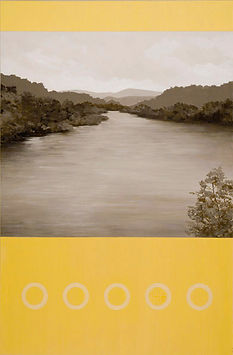 Abstract landscape painting of James River in yellow, gray, neutral tones