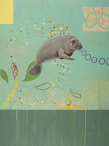 Manatee Painting, Marine life artwork, Large manatee painting by Kazaan Viveiros