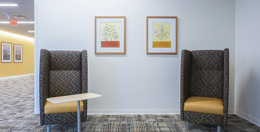 Botanical paintings hanging in cancer center hospital in Florham Park, NJ