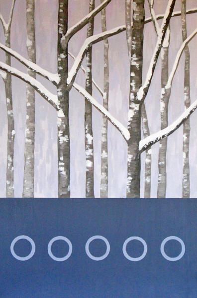 Snow Trees, Acrylic painting by Kazaan Viveiros