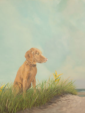 Tranquil Beach, painting of dog (vizsla) in beach landscape