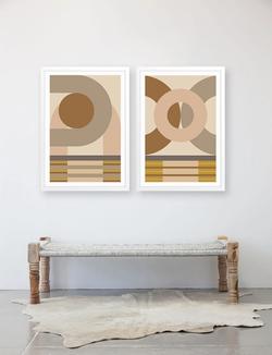Pair geometric artwork with natural textures.