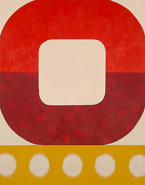 Strawberry Summer, geometric abstract painting in red, yellow