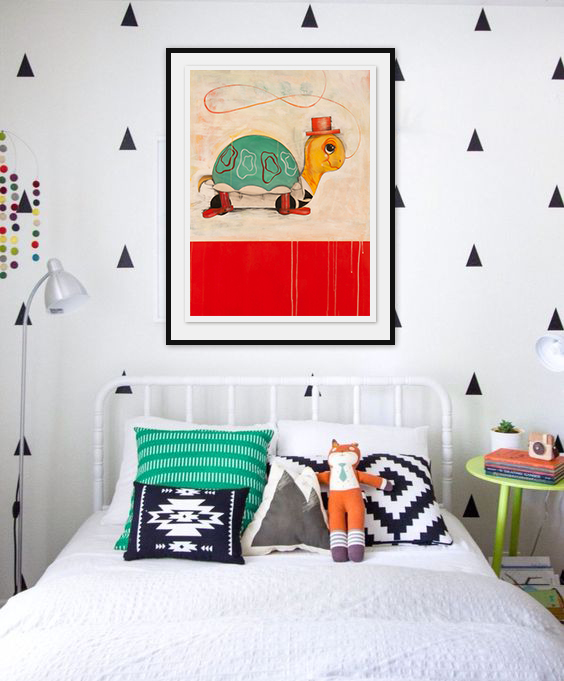 Hang real art in the kid's room.