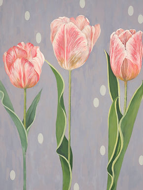 Contemporary botanical painting of pink tulips
