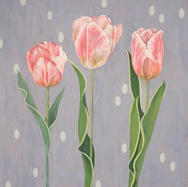 Three More Tulips. Painting of pink tulips by Kazaan Viveiros