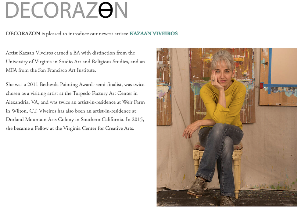 Decorazon Gallery web page introducing Kazaan Viveiros as their newest artist