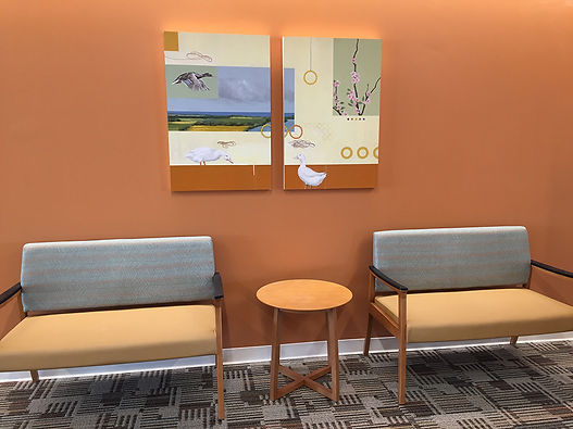 Duck Reverie, contemporary painting by Kazaan Viveiros in Summit Medical Group MD Anderson Cancer Center, NJ