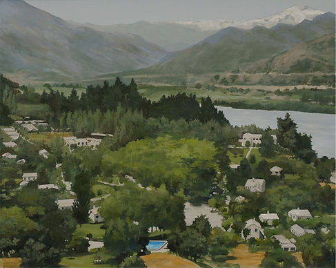Commissioned Landscape Painting, View of Souzal, Chile
