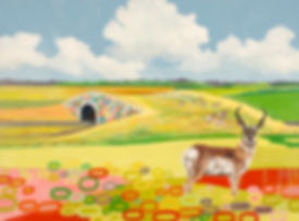 Landscape painting with bright colors, Landscape Painting with pronghorn, Trapper's Point Painting, art about pronghorn migration, art about wildlife corridor