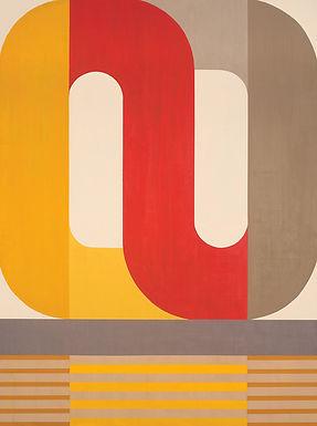 Eternal Return, large geometric abstract painting by Kazaan Viveiros