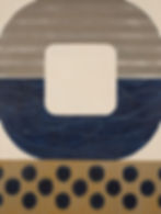 Midnight Ikat, Geometric abstract painting in navy blue, beige, tan