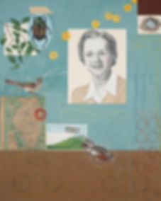 Contemporary environmental painting of Rachel Carson, based on book Silent Spring, by Kazaan Viveiros