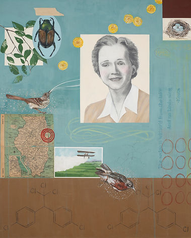 Contemporary environmental painting of Rachel Carson, based on book Silent Spring, by Kazaan Viveiros