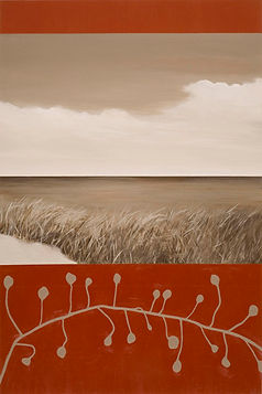 Sea Grass, Abstract landscape / seascape painting in crimson red and gray neutral tones