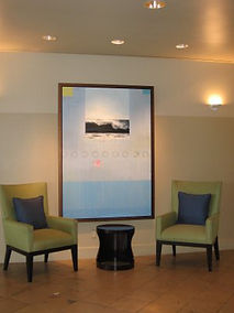 Large contemporary painting by Kazaan Viveiros at Coronado Island Marriott resort in CA