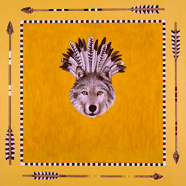 Contemporary abstract painting of wolf head with war bonnet by Kazaan Viveiros