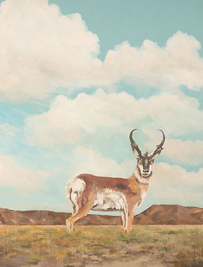 Big Sky Pronghorn, western landscape with pronghorn, a contemporary painting by Kazaan Viveiros