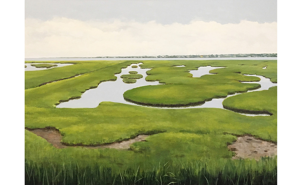 Hidden Marshes, 36 by 48 inches, Acrylic painting on canvas
