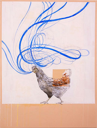 Contemporary paintig of rooster, Rooster of Barcelos by Kazaan Viveiros