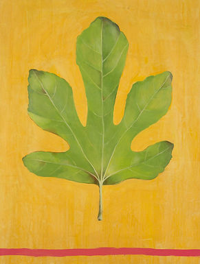 Fig Leaf, contemporary botanical painting by Kazaan Viveiros