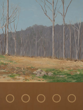 Nod Hill Afternoon, Landscape painting with trees in brown, blue, purples