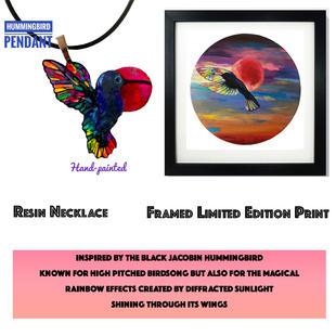 Hummingbird Necklace and print.jpg