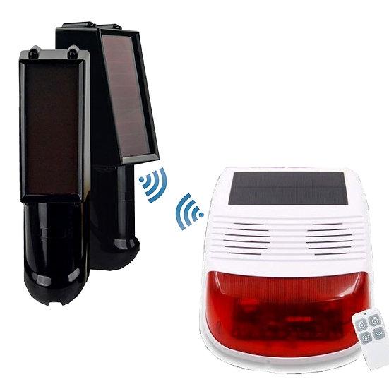 Wireless Solar Panel Alarm kit with 100m Beams