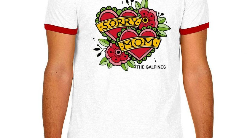 """Sorry Mom Tattoo"" Unisex Ringer - White & Red"