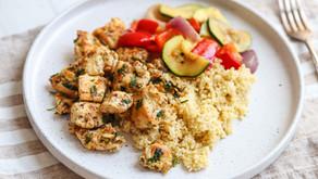 Garlic Chicken Bites With Millet And Veg