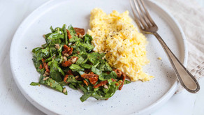 Goats Cheese Scrambled Eggs With Spinach Pesto Salad