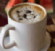 Morning cappucino at the Light House Hotel in Huye