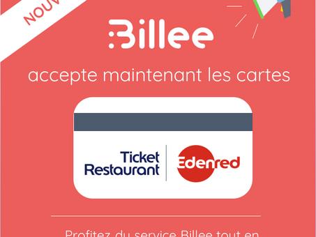 La carte Ticket Restaurant d'Edenred est désormais utilisable sur Billee