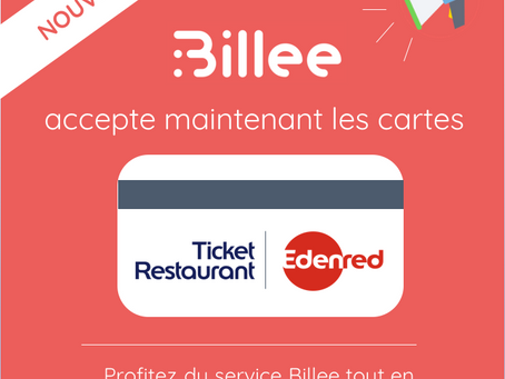 La carte Ticket Restaurant d'Edenred est désormais utilisable sur Billee