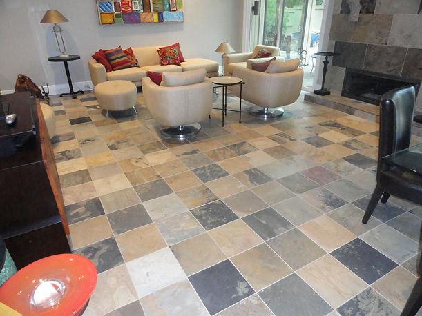 Slate floor.