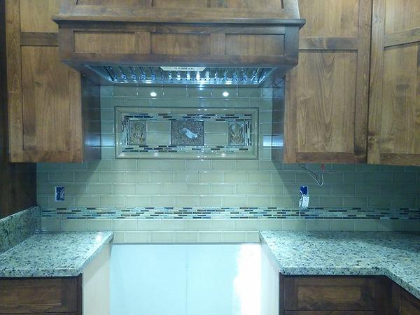 Kitchen countertop with backsplash.