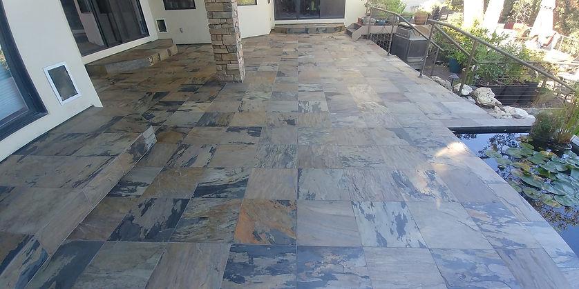 Patio slate tile floor.