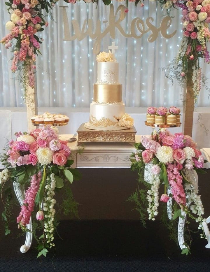Floral Arch backdrop with Cake Table