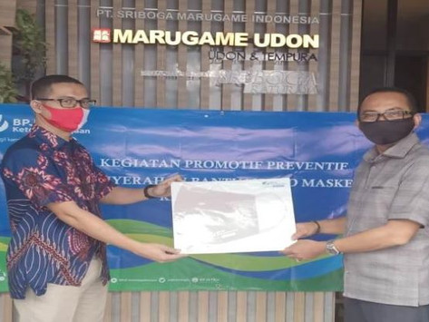BPJAMSOSTEK Bantu 1.000 Masker ke Sriboga Marugame
