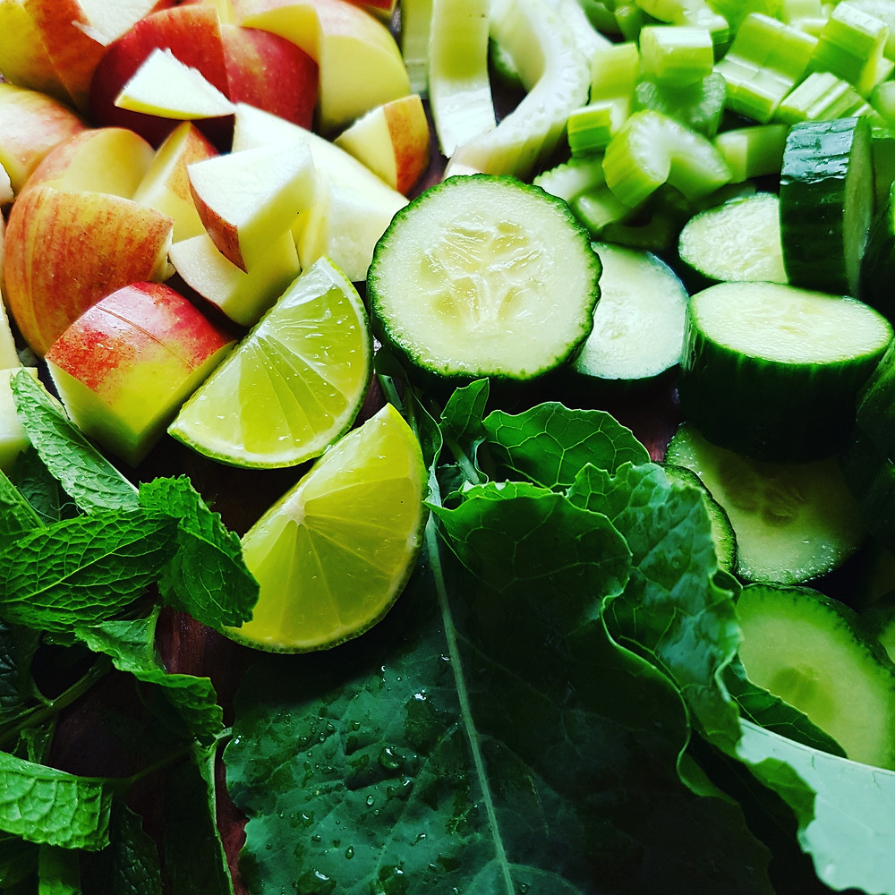 Ingredients for making a Green juice: Kale, mint, lime, cucumber, apple, celery. Image credit: Nicole Cullinan @wellnessplaceint