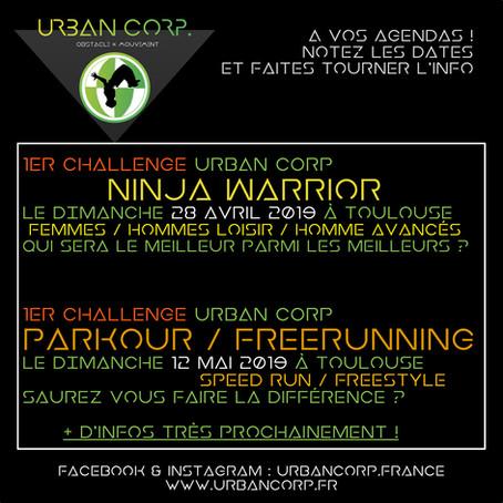1eres Compétitions Ninja Warrior  & Parkour chez Urban Corp !!! notez les dates !
