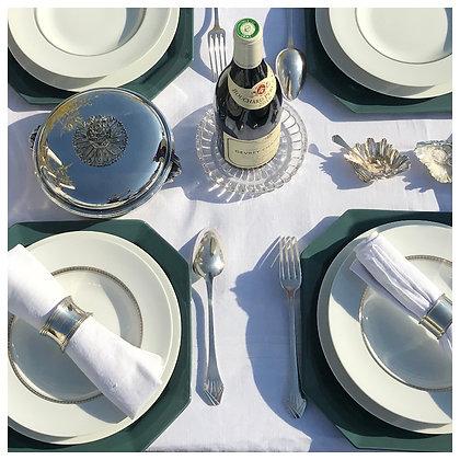BERNARDAUD, Assiette de présentation octogonale couleur vert canard